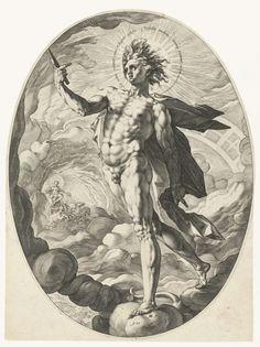 Hendrick Goltzius | Apollo, Hendrick Goltzius, 1588 | Ovale voorstelling van de god Apollo die met vlammende haardos door een kolkende wolkenmassa schrijdt, om zijn hoofd een Latijns opschrift in de vorm van een aureool. Op de achtergrond is te zien hoe hij op zijn zonnewagen rijdt.