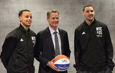 Coach Kerr and the #SplashBrothers representing the #Warriors at #NBAAllStarNYC.