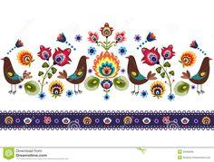Folk Pattern With Birds Stock Photo - Image: 34583200