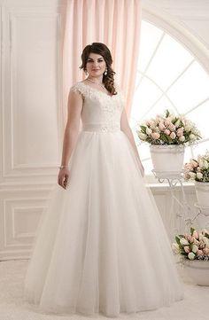 Nueva colecciòn de vestidos de novias para gorditas baratos online, en tul y encaje con escote en v
