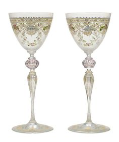 Set of Twelve Hand-Painted and Gilt Venetian Wine Glasses