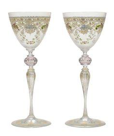 Set of Twelve Hand-Painted and Gilt Venetian Wine Glasses