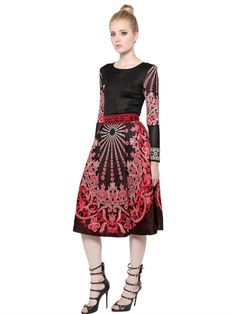 JACQUARD DRESS WITH FULL SKIRT