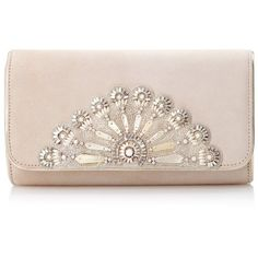 Blush Opera Clutch ($640) ❤ liked on Polyvore featuring bags, handbags, clutches, suede clutches, nude clutches, bridal clutches, bridal handbags and pink handbags
