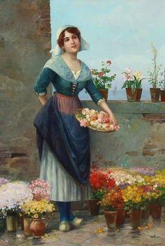 Josef Wenzel Süss (Austrian artist, 1857 – 1937) A woman selling flowers