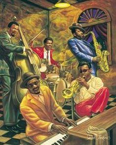 Cool Jazz, Jazz Music, by Sarah Jenkins, African American Art Print Poster Jazz Music, Jazz Art, Rock Poster, Jazz Poster, Cool Jazz, African American Art, African Art, Graffiti Kunst, Jazz Painting