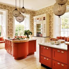 orange cabinets in the kitchen -http://orangekitchendecor.siterubix.com/ Nice use of orange cabinets in this kitchen  #ppgorange