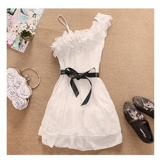 Women Off One Shoulder Sweet Pleated Party Chiffon Dress