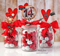 Wanda was inspired by the newest Tim Holtz color Candied Apple to create these super fun jars! She has a very lucky valentine this year! Valentines Day Decorations, Valentine Day Crafts, Be My Valentine, Mini Mason Jars, Mason Jar Crafts, Candy Gifts, Jar Gifts, Simon Says Stamp Blog, Candy Bouquet