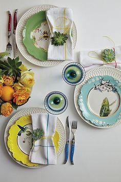 Linen napkins and citrus flower arrangement. Natural World Dessert Plate - anthropologie.com