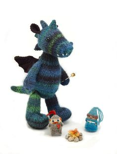 35% off Dragon and Friends knitting pattern by fuzzymitten on Etsy