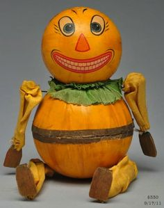 Halloween JOL candy container, papier mache, wood, cloth | Morphy Auction, SOLD $330, Sept 17, 2011