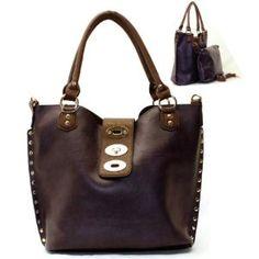 Metal Studs / Lock Closure Purse and Bag / Handbag / Bag in Bag/ Dark Purple / [No Longer Available] #GraffitiLensHandBag