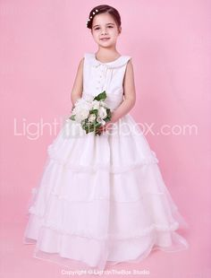 A-line Jewel Neck Floor-length Organza And Satin Flower Girl Dress With Buttons - USD $ 99.99