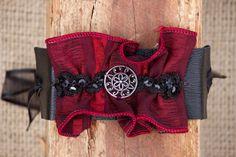 Black Soft Leather Bracelet w/ Deep Red Ribbon by SimplyFrayed, $15.00
