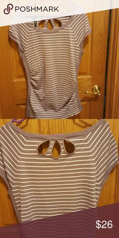 Lilac striped cap sleeve lightweight sweater Lilac tried cap sleeved sweater with fun back openings. Kinda reminds me of a flower. Gathers on sides. Worn once Maurices Tops Tunics