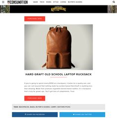 If you're going to spend nearly $700 on a backpack, it better be a quality one, and you can rest assured that nothing made by London-based Hard Graft is anything less than amazing. Made from premium vegetable-tanned Italian leather, it's a backpack that's truly for grown ups. You'll get tons of compliments. Trust.
