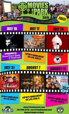 Friendswood Movies in the Park:  We'll do Maleficent, Big Hero 6, and The Box Trolls