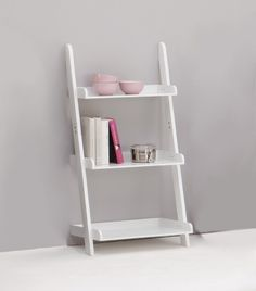 Furniture : Cute Ladder Shelf Decoration Ideas Come With White Stained Modern Ladder Bookshelf Together 3 Tier Design Minimalist Also Grey Painted Wall And 3 Pink Bowl Also White Pink Books - 19 Ladder Bookshelf for your Inspirations