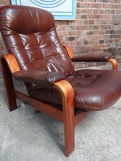 1970's Danish reclining leather arm chair #bentwood #70s #patina #brown #leather…