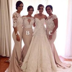 Affordable Mismatched Lace Mermaid Long Wedding Bridesmaid Dresses, WG – OkBridal