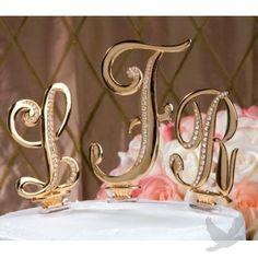 "3"" Gold Monogram Crystal Wedding Cake Toppers"