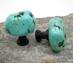 Chunky Turquoise Stone Cabinet Knobs - Set of 2, Cabinet Knob, Fixture, Drawer Pull, Turquoise, Stone, Nugget, Kitchen, Bathroom, Southwest by KnuckleheadKnobs on Etsy https://www.etsy.com/listing/244430474/chunky-turquoise-stone-cabinet-knobs-set