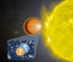 artists rendering of star and planet with inset