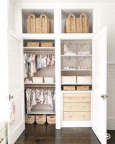 kid closet organization nursery closet organization with baskets and drawers ways to organize kids bedroom nursery design with closet neutral girl Baby Bedroom, Baby Room Decor, Nursery Room, Kids Bedroom, Baby Nursery Closet, Girl Nursery, Nursery Armoire, Baby Closets, Ikea Nursery