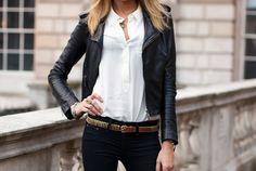 Skinny jeans, white shirt & leather jacket