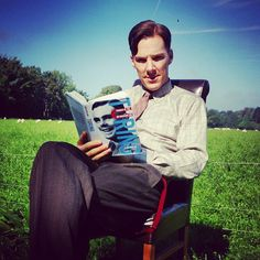londonphile: Just found a pic I took of the wonderful Mr. #benedictcumberbatch taken during a break in filming on the #imitationgame . He's dressed as #alanturing and reading Turing's biography https://instagram.com/p/1MC3ftFDAb/