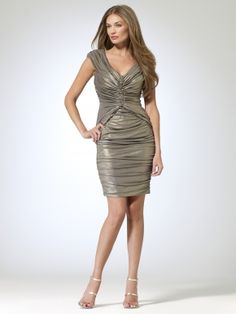 Cap Sleeve Metallic Ruched Cocktail Dress