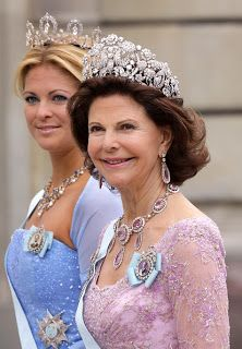 The Swedish royals sweetly interchange the tiaras they wear with each other, and here Madeleine is wearing a large tiara that Queen Silvia used to always wear.Marie Poutine's Jewels & Royals: Swedish Royals