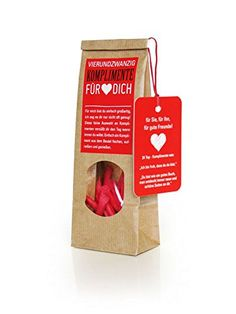 Du suchst ein Geschenk zum Valentinstag? 4 Lose mit Komplimenten in einer schöne Geschenktüte sind eine tolle Art Komplimente zu verteilen. Die Lose machen es spannend.