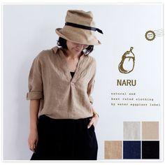 【NARU ナル】フレンチ リネン スキッパーネック ブラウス (624826)