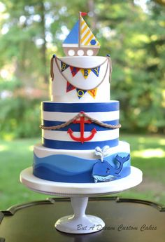 Nautical Baby Shower Cake by Elisabeth Palatiello Nautical Birthday Cakes, Nautical Cake, Nautical Baby Shower Cakes, Baby Shower Cupcakes For Boy, Cupcakes For Boys, Ocean Cakes, Beach Cakes, Fondant Cakes, Cupcake Cakes