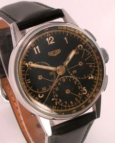 Heuer three-register chronograph from the 1940s, with an early Valjoux 72 movement