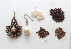 How to make Pearl Fan Earrings.  Good pictures show how to bead around the pearl, but translate. for full details.  #Seed #Bead #Tutorials