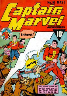 In Captain Marvel Adventures #10, May 1942, the Big Red Cheese shows he can dish it out as well as Superman, Captain America or the Fighting Yank.