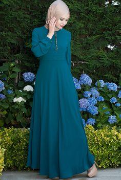 Sık Düğmeli Açık Petrol Elbise - Ürün kodu: 5280-03. Sipariş için 0850 811 80 30 #tesettür #elbise