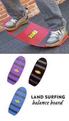 Stand, sit, rock, spin, slide, tilt, flip, and wobble—you name it, you can do it on a Spooner Board. Designed for use indoors or outside on almost any surface you can think of from carpet to sand, snow, dirt, gravel, grass, and even water, these balance boards are geared for people of all ages from four year olds to teenagers.