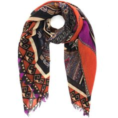 Etro Orange Tonal Aztec Cashmere Scarf ($810) ❤ liked on Polyvore featuring accessories, scarves, cashmere shawl, indian shawl, lightweight scarves, etro scarves and patterned scarves