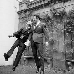 Jimmy Greaves and Norman Wisdom clown around during a visit to Pinewood Studios by the 1966 World Cup Squad. Norman Wisdom, Jimmy Greaves, 1966 World Cup, Class Games, Tottenham Hotspur Fc, Clowning Around, North London, Film Stills, Premier League