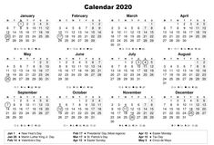 12 Month 2020 Calendar – Printable One Page Yearly Template Printable Yearly Calendar, Free Printable Calendar Templates, Monthly Planner Template, New Year Calendar, 2020 Calendar Template, Calendar 2020, Calendar Pages, Free Printables, Time Management Tools