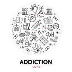 Round composition with addiction element... | Free Vector #Freepik #freevector #money #leaf #line #medical Overcoming Addiction, Type Illustration, Icon Collection, Skull And Crossbones, Line Icon, Design Quotes, Colouring Pages, Icon Set, Vector Free
