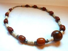 Vintage African Necklace - Amber Color Beads, Ostrich Shell, Native Silver Beads - Handstrung Ethnic Beads - Stylish Boho Chic from Kenya