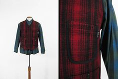 Woolrich Work Vest Red Wool Plaid Utility Zip Waistcoat