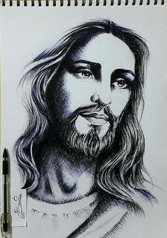 Jesus Christ Drawing, Jesus Drawings, Pencil Art Drawings, Art Sketches, Christ Tattoo, Jesus Tattoo, Christian Paintings, Christian Artwork, My Champion