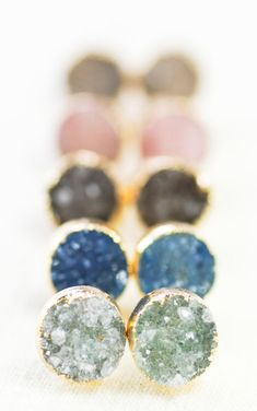 A'ia'i earrings gold druzy stud earrings gold