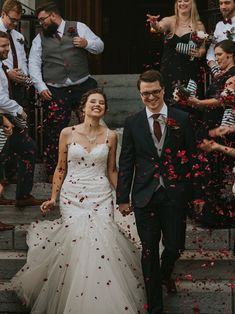 rose petal church exit wedding; rose petal confetti; PHOTOGRAPHY Joel + Justyna Bedford;
